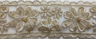 "LNS-BBE-216-GOLD. BRIDAL EMBROIDERED LACE WITH SEQUINS - 2 "" WIDE"