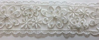 "LNS-BBE-216-OFFWHITE. BRIDAL EMBROIDERED LACE WITH SEQUINS - 2 "" WIDE"