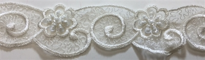 "LNS-BBE-217-OFFWHITE. BRIDAL EMBROIDERED LACE WITH SEQUINS - 1 3/4 "" WIDE"
