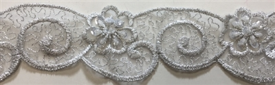 "LNS-BBE-217-SILVER. BRIDAL EMBROIDERED LACE WITH SEQUINS - 1 3/4 "" WIDE"