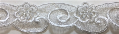 "LNS-BBE-217-WHITE. BRIDAL EMBROIDERED LACE WITH SEQUINS - 1 3/4 "" WIDE"