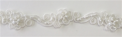 "LNS-BBE-218-OFFWHITE. BRIDAL BEADED LACE WITH BEADS AND PEARLS - 1"" - OFFWHITE"
