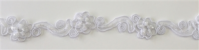 "LNS-BBE-218-WHITE. BRIDAL BEADED LACE WITH BEADS AND PEARLS - 1"" - WHITE"
