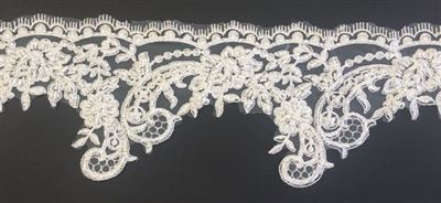 "LNS-BBE-219-OFFWHITE. FULLY BEADED BRIDAL LACE- 5"" - WHITE"