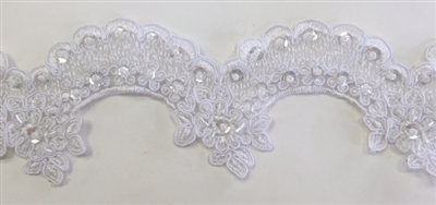 LNS-BBE-221-WHITE.  Fully Beaded Bridal Lace - White - 3.5 Inch Wide