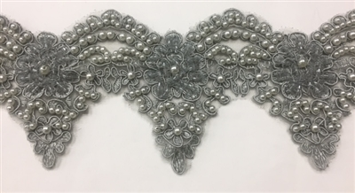 LNS-BBE-222-ANTIQUESILVER.  Fully Beaded Bridal Lace with Silver Pearls - Antique Silver - 4 Inch Wide