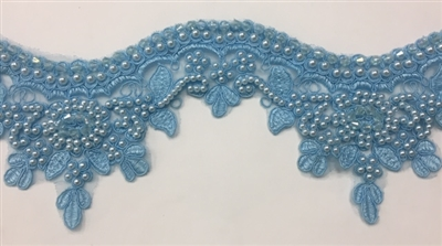 LNS-BBE-223-LIGHTBLUE.  Bridal Lace with Exquisite Embroideries and Silver Pearls - Light Blue - 4 Inch Wide