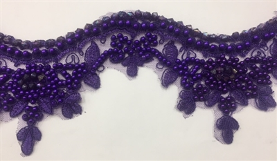 LNS-BBE-223-PURPLE. Bridal Lace with Exquisite Embroideries and Silver Pearls - Purple - 4 Inch Wide