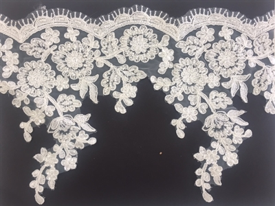 LNS-BBE-225-OFFWHITE. Off-White Bridal Lace with Exquisite Embroideries and White Sequins and Pearls - White - 8 Inch Wide