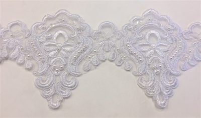 LNS-BBE-226-WHITE. Bridal Lace with Exquisite Embroideries and White Pearls - White - 5 Inch Wide