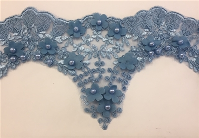 LNS-BBE-228-BLUE. Blue Bridal Lace with Exquisite Embroideries, Blue Pearls and Raised Flowers - 5 Inch Wide