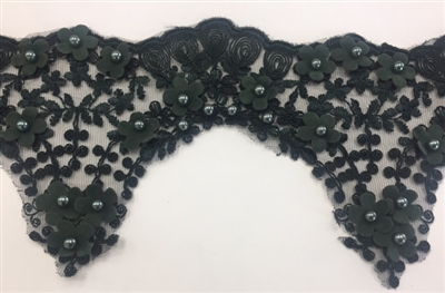 LNS-BBE-228-HUNTERGREEN. Hunter-Green Bridal Lace with Exquisite Embroideries, Green Pearls and Raised Flowers - 5 Inch Wide