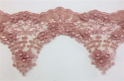 LNS-BBE-228-PEACH. Peach Bridal Lace with Exquisite Embroideries, Peach Pearls and Raised Flowers - 5 Inch Wide