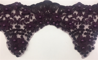 LNS-BBE-228-PLUM. Plum Bridal Lace with Exquisite Embroideries, Plum Pearls and Raised Flowers - 5 Inch Wide