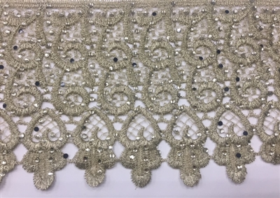 LNS-BBE-230-GOLD. Gold Bridal Lace with Shiny Crystals - Sold By the Yard - 4.25 Inch Wide