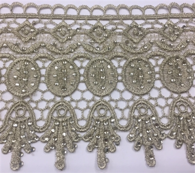 LNS-BBE-231-GOLD. Gold Bridal Lace with Shiny Crystals - Sold By the Yard - 4.5 Inch Wide