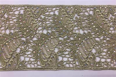 LNS-BBE-234-GOLD. Gold Bridal Lace with Shiny Crystals - Sold By the Yard - 3.75 Inch Wide