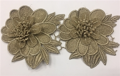 LNS-BBE-235-GOLD. Gold Bridal Lace with Raised Petals - Sold By the Yard - 4.5 Inch Wide