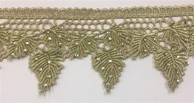 LNS-BBE-236-GOLD. Gold Bridal Lace with Shiny Crystals - Sold By the Yard - 3 Inch Wide