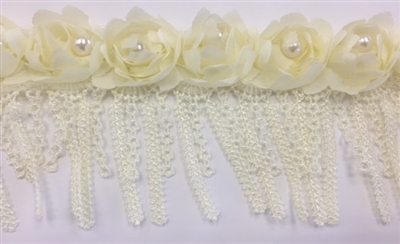 LNS-BBE-242-YELLOW.  Yellow Bridal Lace with White Pearls on Raised Flowers - Sold By the Yard - 3 Inch Wide