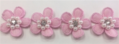 LNS-BBE-243-PINK.   Pink Floral Bridal Trim with White Pearls and Crystal Rhinestone in the Center of Flower - Sold By the Yard - 1.25 Inch Wide