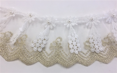 LNS-BBE-245-WHITEGOLD.  White and Gold Bridal Lace with White Pearls in the Center of Flower - Sold By the Yard - 3 Inch Wide