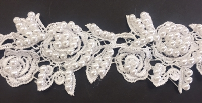 LNS-BBE-246-WHITE.  White Bridal Lace with White Pearls - Sold By the Yard - 2 Inch Wide