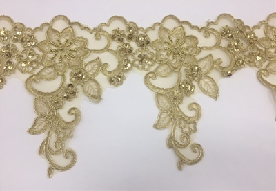 LNS-BBE-247-GOLD.  Gold Embroidery Bridal Lace with with Gold Beads and Sequins - Sold By the Yard - 8.5 Inch Wide