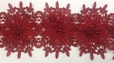 LNS-BBE-252-BURGUNDY. Burgundy Bridal Lace with Multi-Layer Raised Flowers - 5 Inch Wide