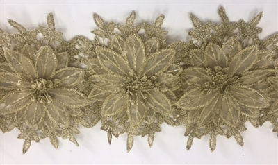 LNS-BBE-252-GOLD. Gold Bridal Lace with Multi-Layer Raised Flowers- 5 Inch Wide