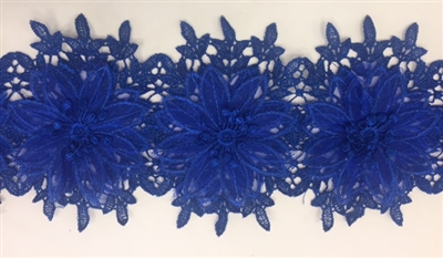 LNS-BBE-252-ROYALBLUE. Royal Blue Bridal Lace with Multi-Layer Raised Flowers - 5 Inch Wide