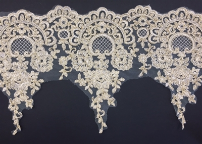 LNS-BBE-253-GOLD. Gold Bridal Lace - 8.5 Inch Wide