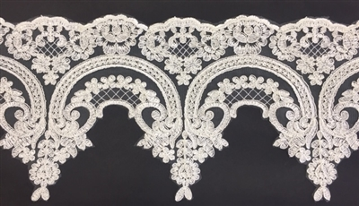 LNS-BBE-257-IVORY.  Ivory Bridal Lace - 8.5 Inch Wide - Sold By the Yard