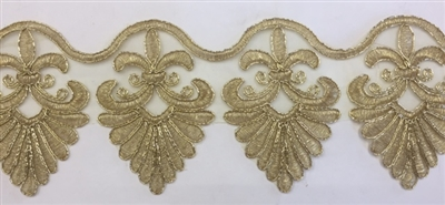 LNS-BBE-260-GOLD.  Gold Bridal Lace - 4.5 Inch Wide - Sold By the Yard