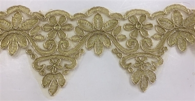 LNS-BBE-262-GOLD.  Gold Bridal Lace - 3.5 Inch Wide - Sold By the Yard