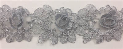 LNS-BBE-263-SILVER.  Silver Bridal Lace with 3-Dimensional Rosettes - 2 Inch Wide - Sold By the Yard
