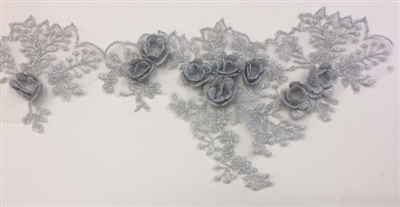 LNS-BBE-266-SILVER.  Silver Bridal Lace with 3-Dimensional Rosettes - 5 Inch Wide - Sold By the Yard