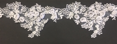 LNS-BBE-266-WHITE.  White Bridal Lace with 3-Dimensional Rosettes - 5 Inch Wide - Sold By the Yard