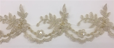LNS-BBE-268-ANTIQUEGOLD. Antique Gold Embroidered Bridal Lace with Beads and Sequins - 3 Inch Wide - Sold By the Yard