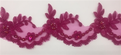 LNS-BBE-268-FUCHSIA. Fuchsia Embroidered Bridal Lace with Beads and Sequins - 3 Inch Wide - Sold By the Yard