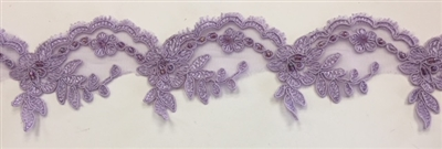 LNS-BBE-268-LILAC. Embroidered Bridal Lace with Beads and Sequins - 3 Inch Wide - Turquoise - Price per yard