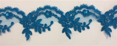 LNS-BBE-268-TURQUOISE. Embroidered Bridal Lace with Beads and Sequins - 3 Inch Wide - Turquoise - Price per yard