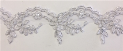 LNS-BBE-268-WHITE. White Embroidered Bridal Lace with Beads and Sequins - 3 Inch Wide - Price is per yard