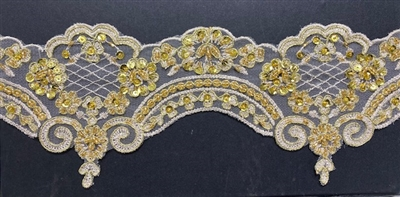LNS-BBE-269-GOLD. Embroidered Bridal Lace with Beads and Sequins - 4.5 Inch Wide - Gold- Price is per yard