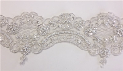LNS-BBE-269-IVORYSILVER. Embroidered Bridal Lace with Beads, Sequins, And Silver Borders - 4.5 Inch Wide - Price Per Yard