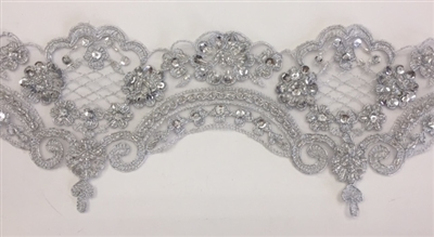 LNS-BBE-269-SILVER. Embroidered Bridal Lace with Beads and Sequins - 4.5 Inch Wide - Silver- Price is per yard