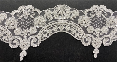 LNS-BBE-269-WHITE. Embroidered Bridal Lace with Beads and Sequins - 4.5 Inch Wide - White - Price is per yard