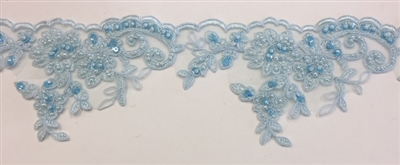 LNS-BBE-270-LTBLUE. Embroidered Bridal Lace with Beads and Sequins - 4 Inch Wide - LT BLUE - Price per yard