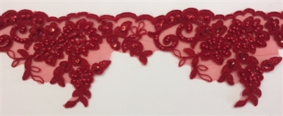 LNS-BBE-270-RED. Embroidered Bridal Lace with Beads and Sequins - 4 Inch Wide - RED - Price per yard