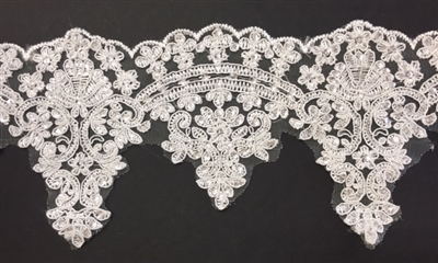 LNS-BBE-272-IVORY. Embroidered Bridal Lace with Beads and Sequins - 5 Inch Wide - IVORY - Price per yard: $6.00